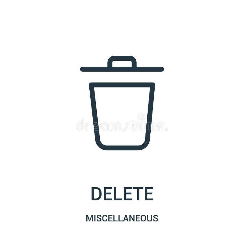 vettore dell'icona di cancellazione dalla raccolta varia Linea sottile illustrazione di vettore dell'icona del profilo di cancell illustrazione vettoriale