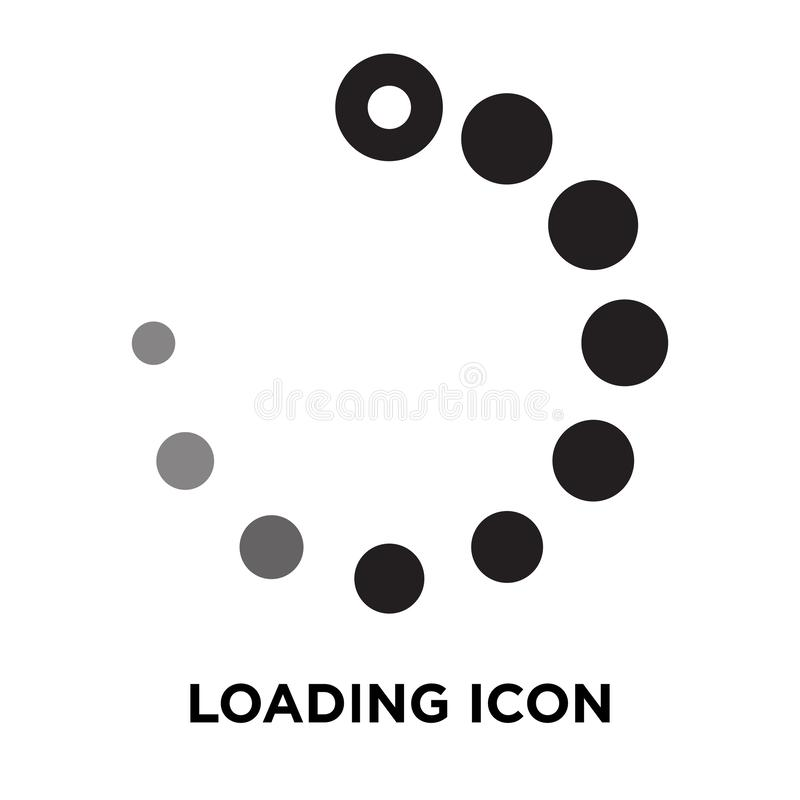 Vettore dell'icona di caricamento isolato su fondo bianco, concetto o di logo illustrazione di stock