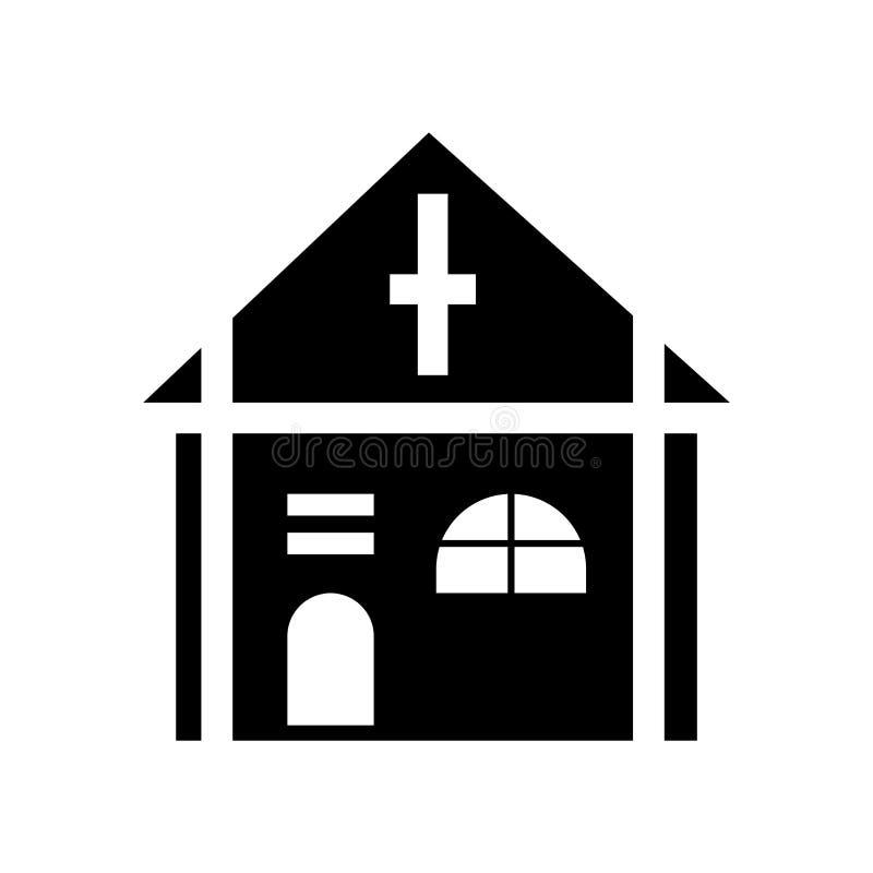 Vettore dell'icona di Christian Church isolato su fondo bianco, segno di Christian Church, simboli della costruzione illustrazione vettoriale