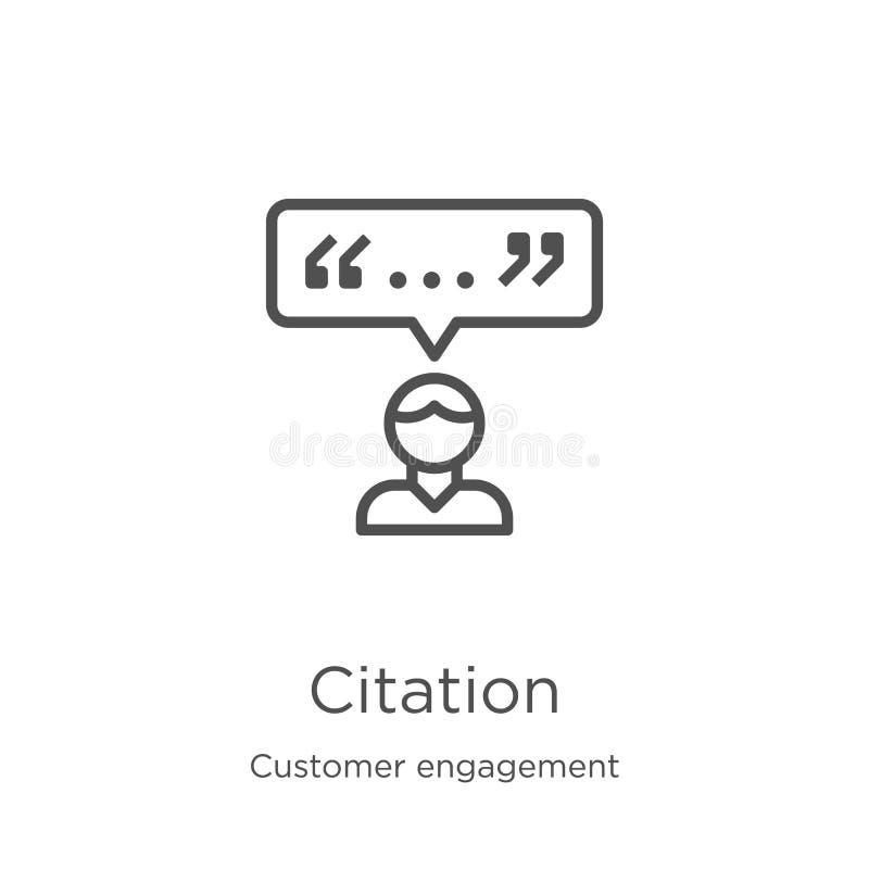 vettore dell'icona di citazione dalla raccolta di impegno del cliente Linea sottile illustrazione di vettore dell'icona del profi illustrazione di stock