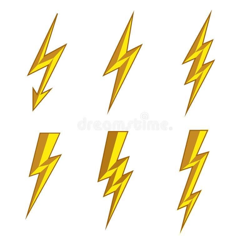 Vettore dell'icona di colpo di fulmine del fulmine Illustrazione istantanea di simbolo Icone istantanee di illuminazione messe St illustrazione vettoriale