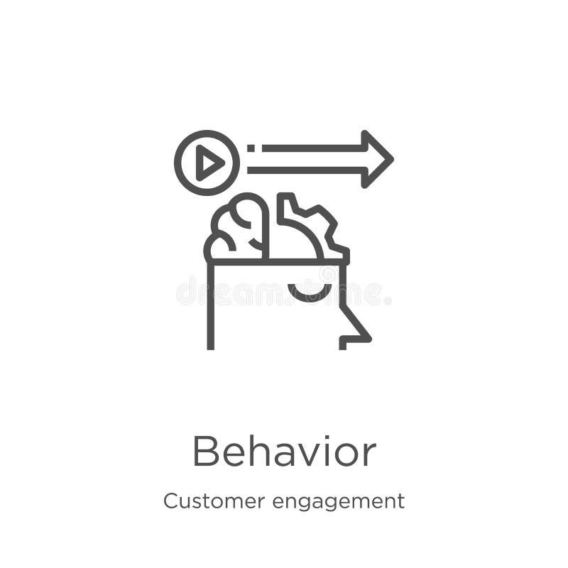 vettore dell'icona di comportamento dalla raccolta di impegno del cliente Linea sottile illustrazione di vettore dell'icona del p illustrazione di stock