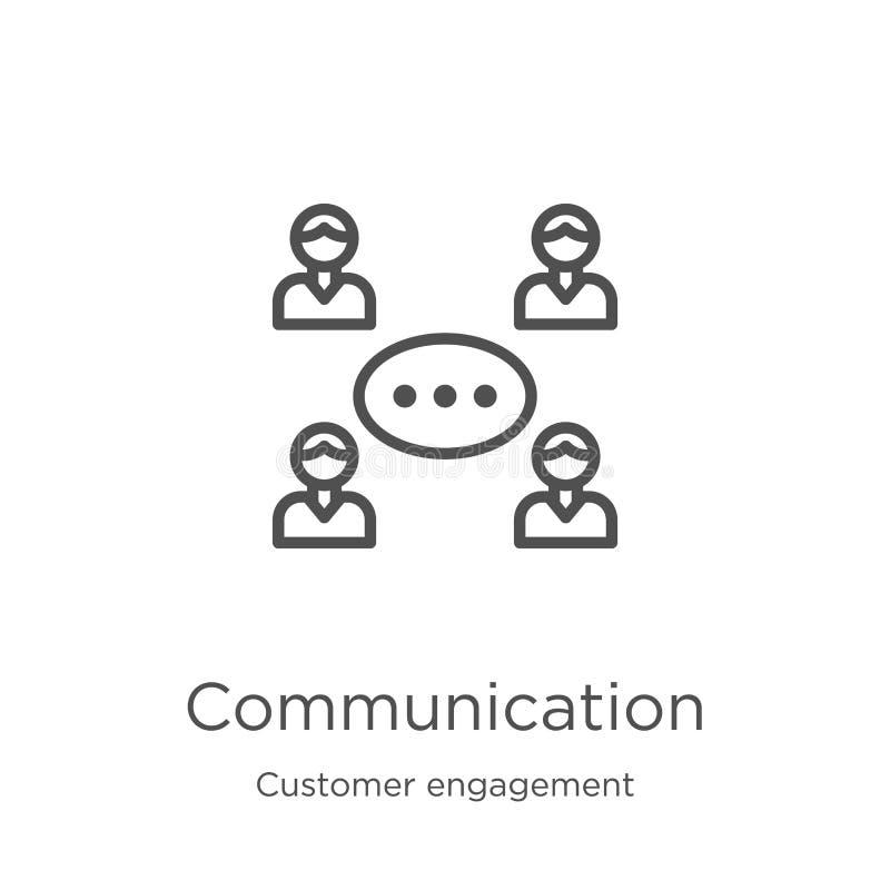 vettore dell'icona di comunicazione dalla raccolta di impegno del cliente Linea sottile illustrazione di vettore dell'icona del p illustrazione di stock