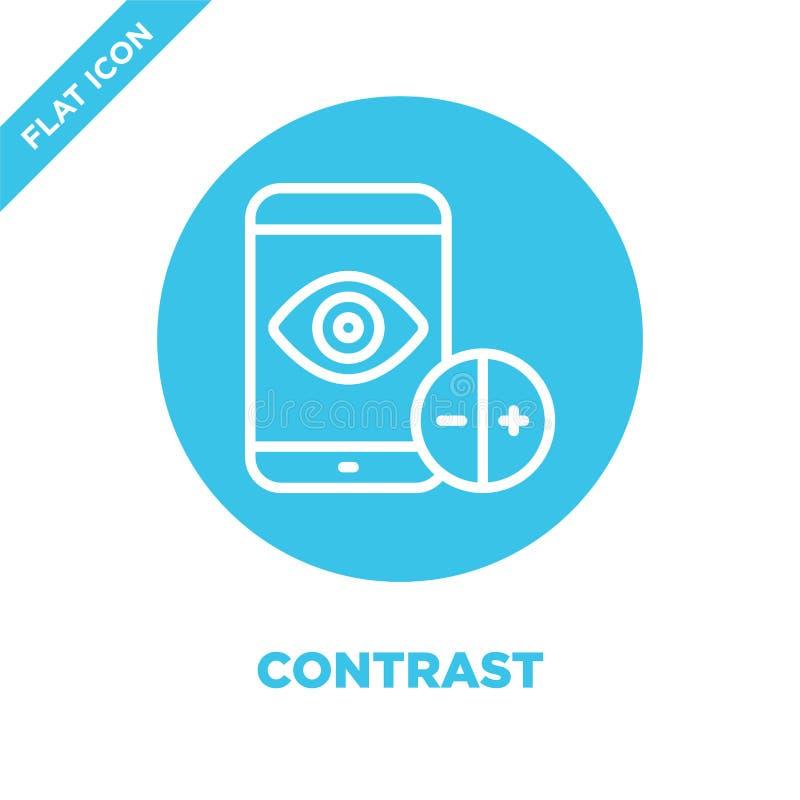 vettore dell'icona di contrasto dalla raccolta di accessibilità Linea sottile illustrazione di vettore dell'icona del profilo di  illustrazione vettoriale