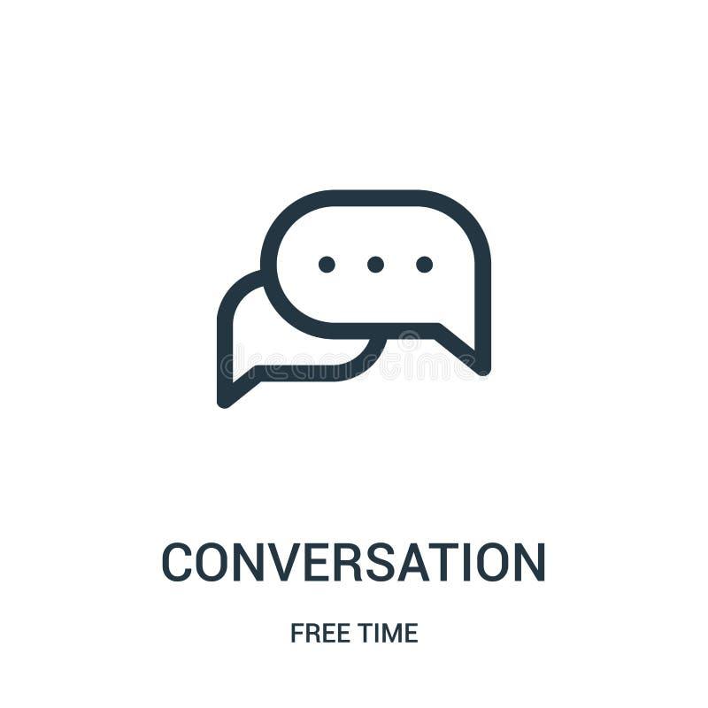 vettore dell'icona di conversazione dalla raccolta di tempo libero Linea sottile illustrazione di vettore dell'icona del profilo  illustrazione di stock