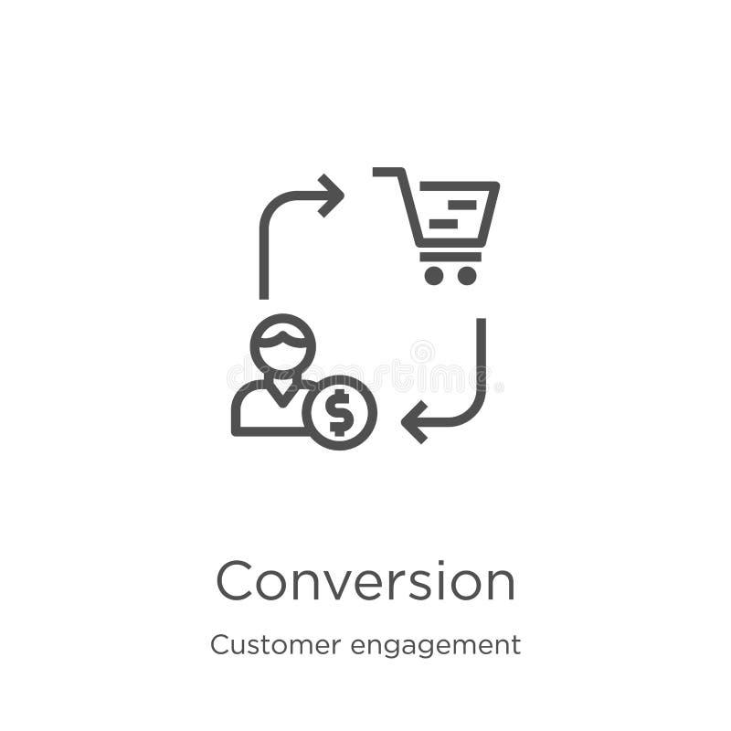 vettore dell'icona di conversione dalla raccolta di impegno del cliente Linea sottile illustrazione di vettore dell'icona del pro royalty illustrazione gratis