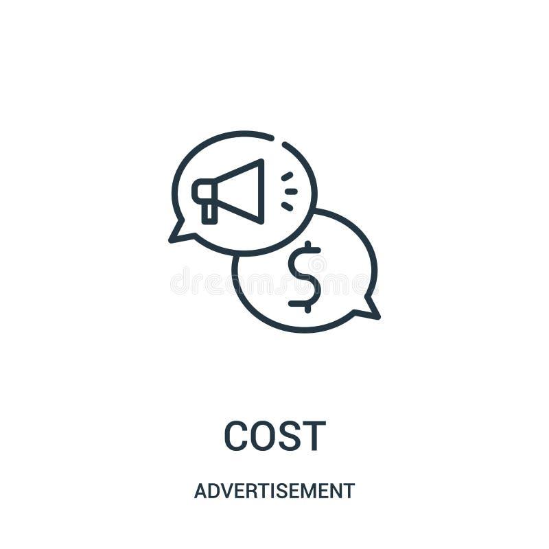 vettore dell'icona di costo dalla raccolta della pubblicità Linea sottile illustrazione di vettore dell'icona del profilo di cost illustrazione vettoriale