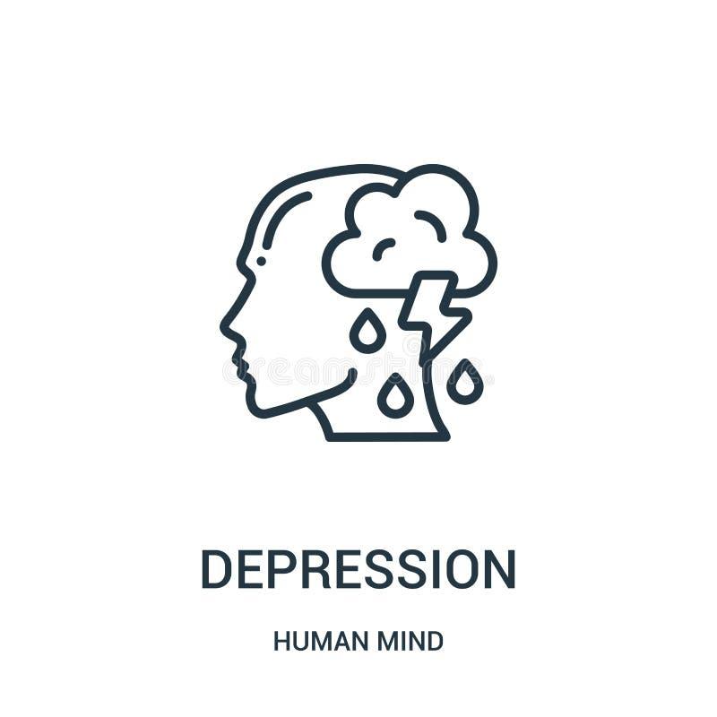 vettore dell'icona di depressione dalla raccolta di mente umana Linea sottile illustrazione di vettore dell'icona del profilo di  illustrazione di stock