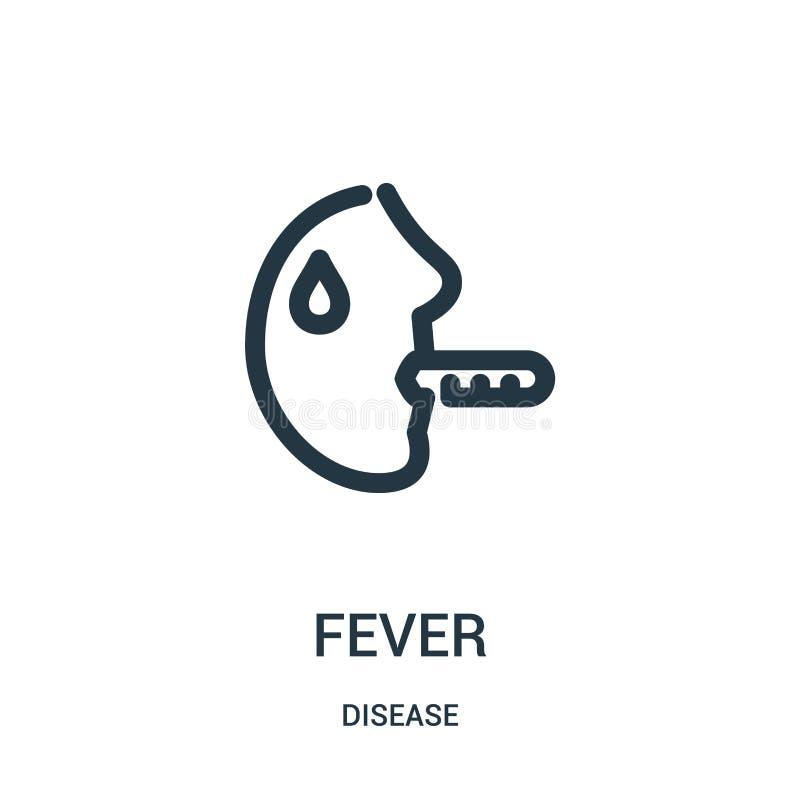 vettore dell'icona di febbre dalla raccolta di malattia Linea sottile illustrazione di vettore dell'icona del profilo di febbre S illustrazione di stock