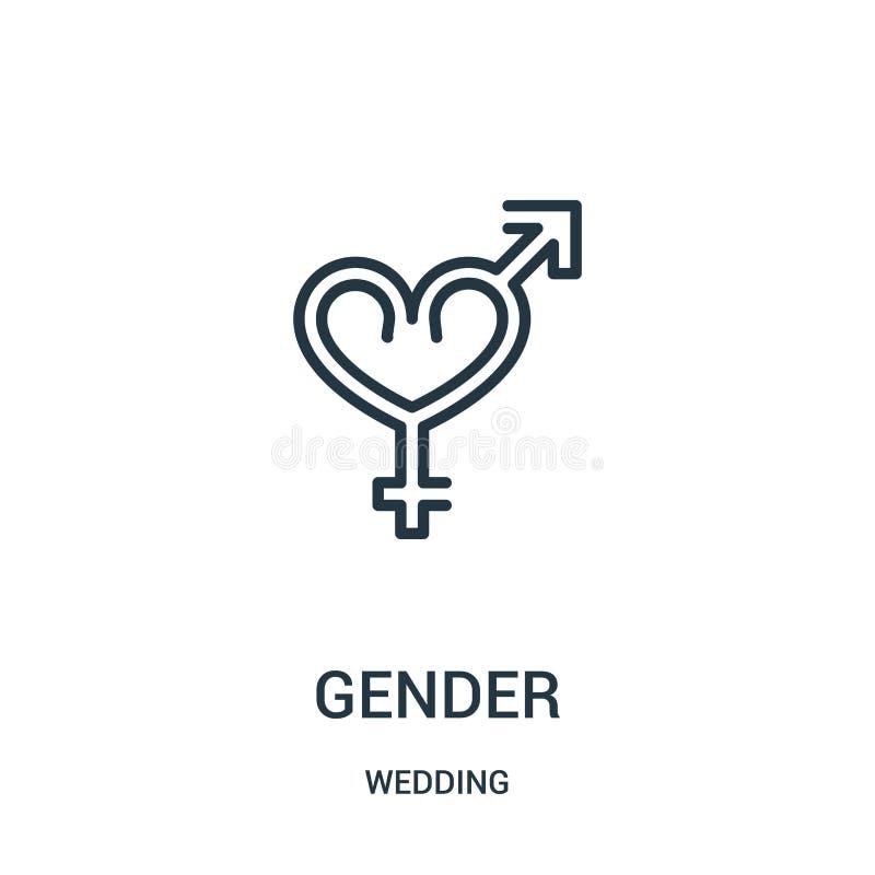 vettore dell'icona di genere dalla raccolta di nozze Linea sottile illustrazione di vettore dell'icona del profilo di genere Simb illustrazione di stock