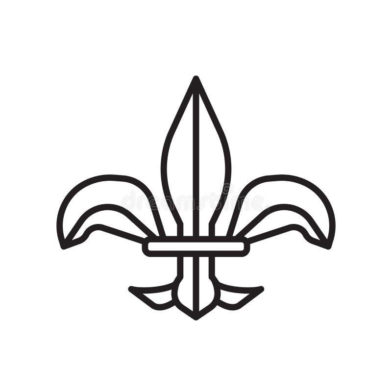 Vettore dell'icona di giglio araldico isolato su fondo bianco, segno di giglio araldico, linea sottile elementi di progettazione  illustrazione vettoriale