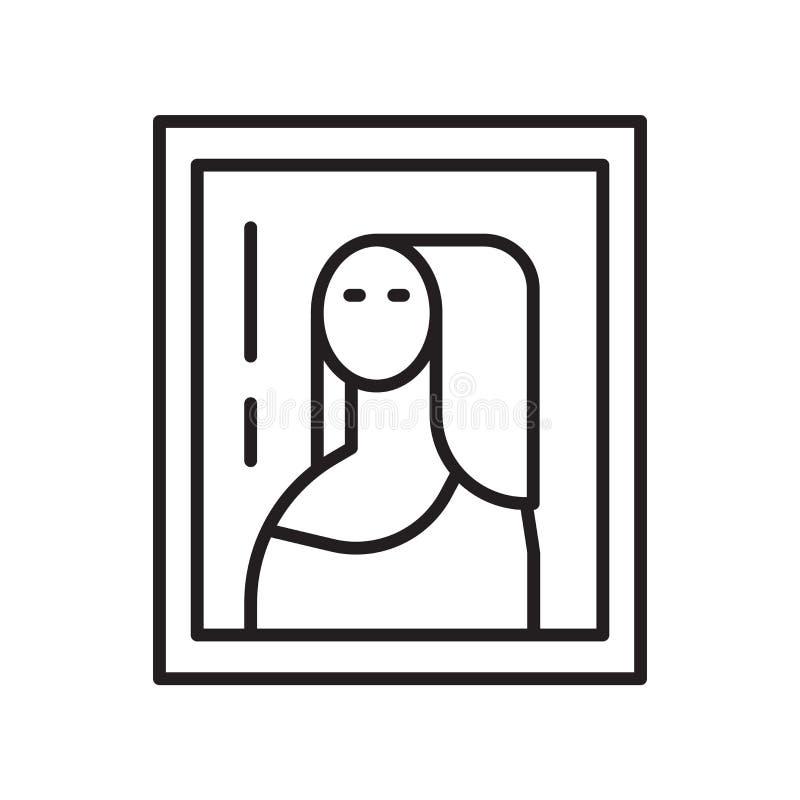 Vettore dell'icona di Gioconda isolato su fondo bianco, segno di Gioconda, linea sottile elementi di progettazione nello stile de royalty illustrazione gratis