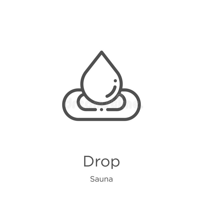 vettore dell'icona di goccia dalla raccolta di sauna Linea sottile illustrazione di vettore dell'icona del profilo di goccia Prof illustrazione di stock