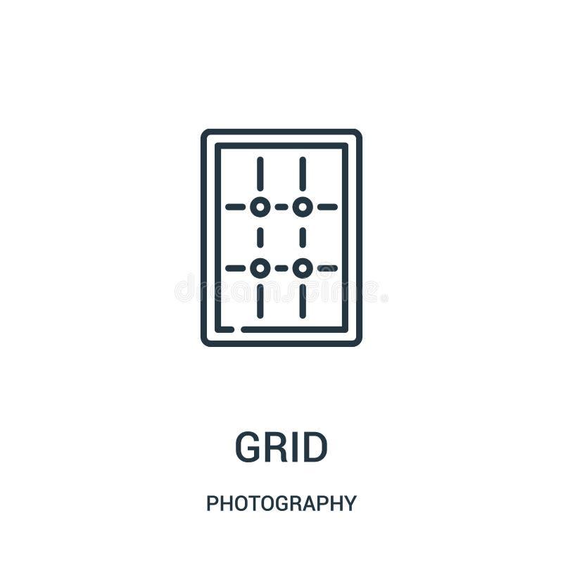 vettore dell'icona di griglia dalla raccolta di fotografia Linea sottile illustrazione di vettore dell'icona del profilo di grigl illustrazione vettoriale