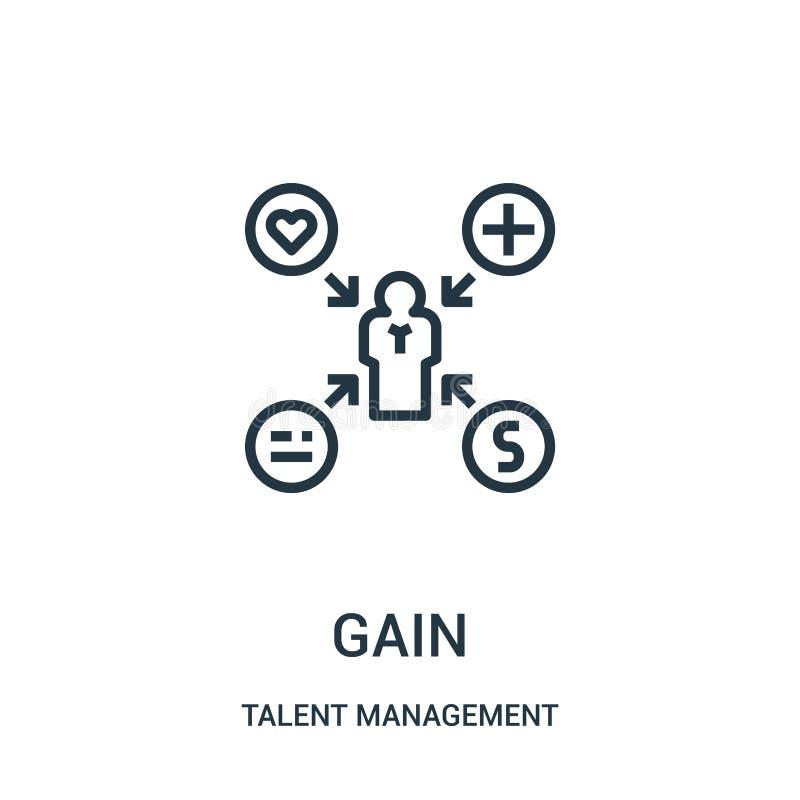 vettore dell'icona di guadagno dalla raccolta della gestione di talento Linea sottile illustrazione di vettore dell'icona del pro illustrazione di stock