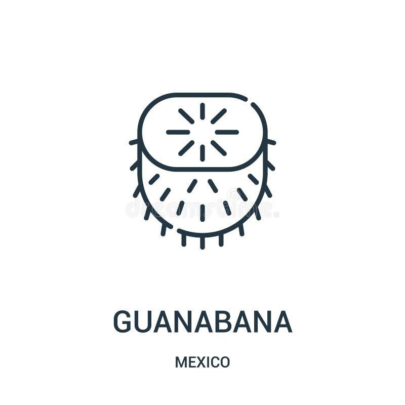 vettore dell'icona di guanabana dalla raccolta del Messico Linea sottile illustrazione di vettore dell'icona del profilo di guana illustrazione vettoriale