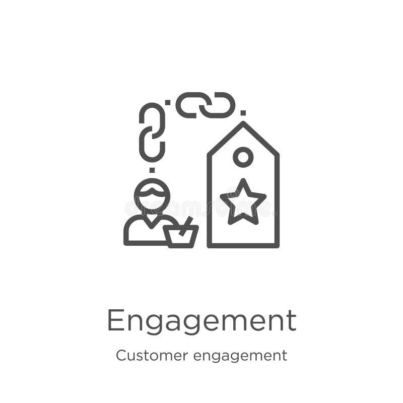 vettore dell'icona di impegno dalla raccolta di impegno del cliente Linea sottile illustrazione di vettore dell'icona del profilo royalty illustrazione gratis