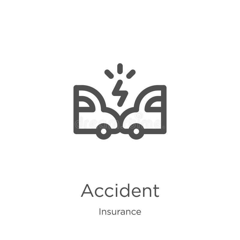 vettore dell'icona di incidente dalla raccolta di assicurazione Linea sottile illustrazione di vettore dell'icona del profilo di  illustrazione vettoriale