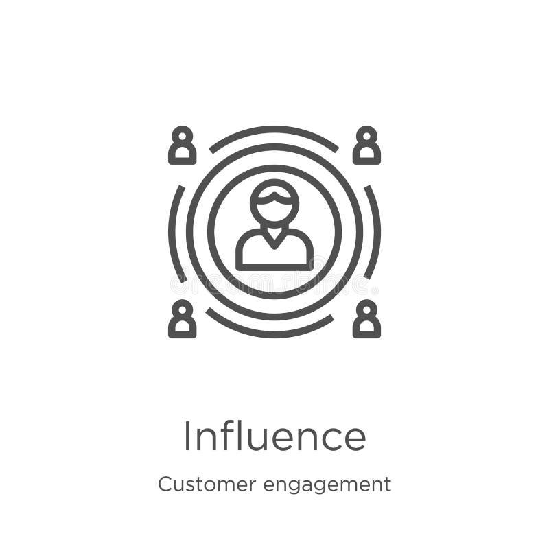 vettore dell'icona di influenza dalla raccolta di impegno del cliente Linea sottile illustrazione di vettore dell'icona del profi illustrazione vettoriale