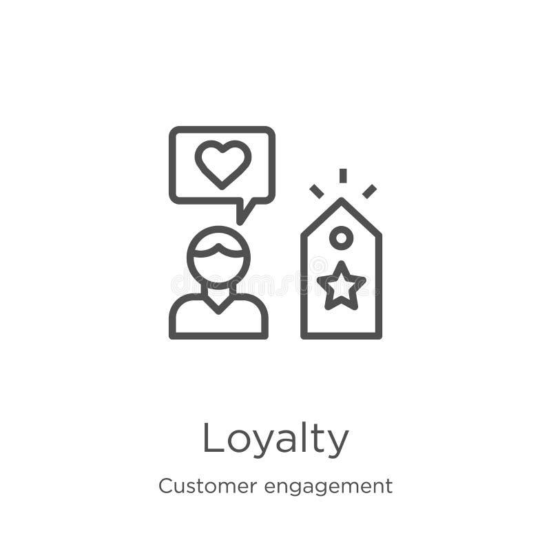 vettore dell'icona di lealtà dalla raccolta di impegno del cliente Linea sottile illustrazione di vettore dell'icona del profilo  illustrazione vettoriale