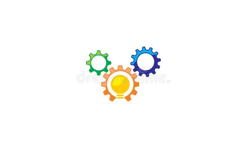 Vettore dell'icona di logo di tecnologia dell'ingranaggio della lampadina royalty illustrazione gratis