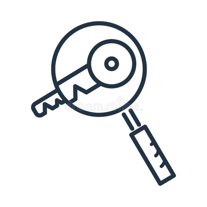 Vettore dell'icona di parola chiave isolato su fondo bianco, segno di parola chiave fotografie stock