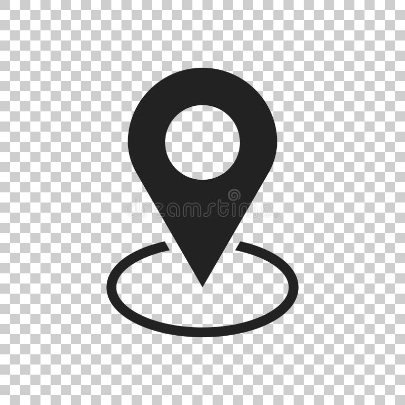 Vettore dell'icona di Pin La posizione firma dentro lo stile piano isolato sull'isolato illustrazione vettoriale