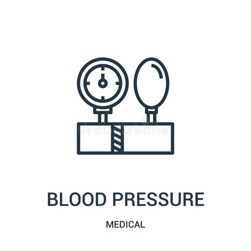 vettore dell'icona di pressione sanguigna dalla raccolta medica Linea sottile illustrazione di vettore dell'icona del profilo di  illustrazione vettoriale