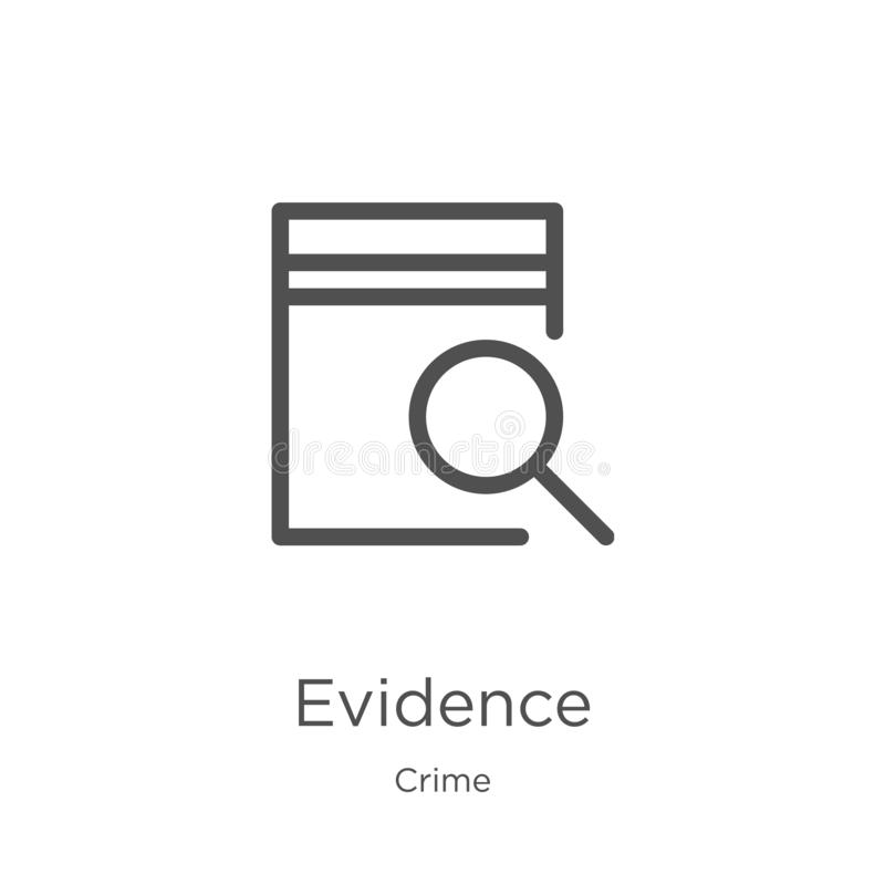 vettore dell'icona di prova dalla raccolta di crimine Linea sottile illustrazione di vettore dell'icona del profilo di prova Prof royalty illustrazione gratis