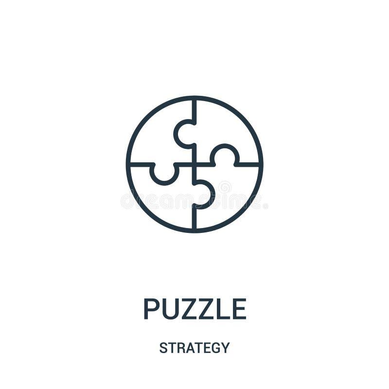 vettore dell'icona di puzzle dalla raccolta di strategia Linea sottile illustrazione di vettore dell'icona del profilo di puzzle  royalty illustrazione gratis
