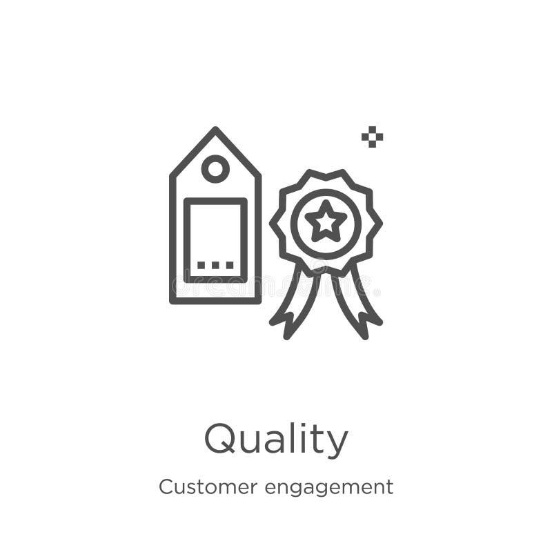 vettore dell'icona di qualità dalla raccolta di impegno del cliente Linea sottile illustrazione di vettore dell'icona del profilo royalty illustrazione gratis