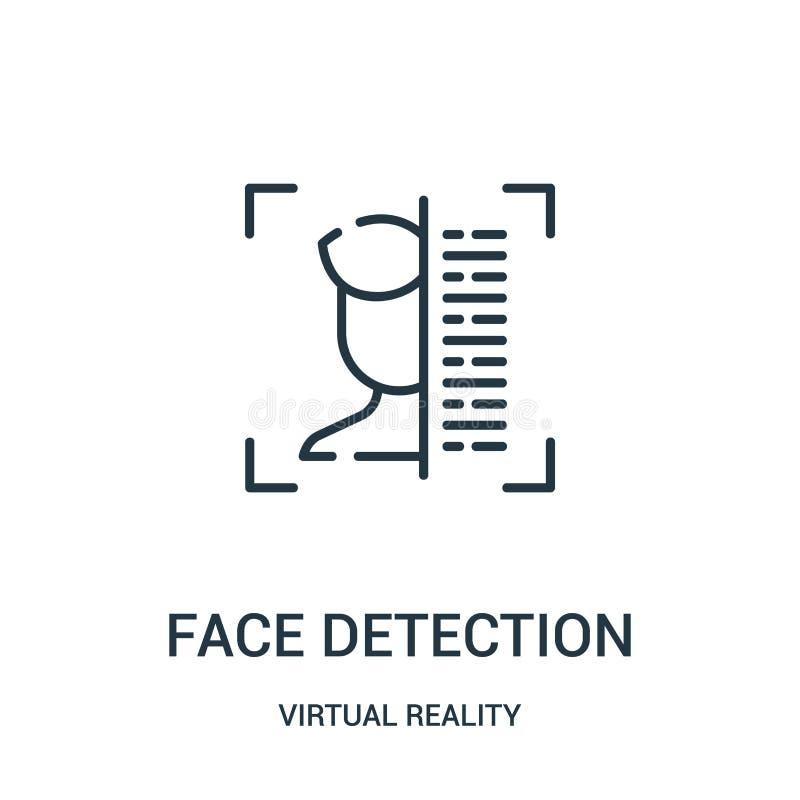 vettore dell'icona di rilevazione del fronte dalla raccolta di realtà virtuale Linea sottile illustrazione di vettore dell'icona  illustrazione di stock