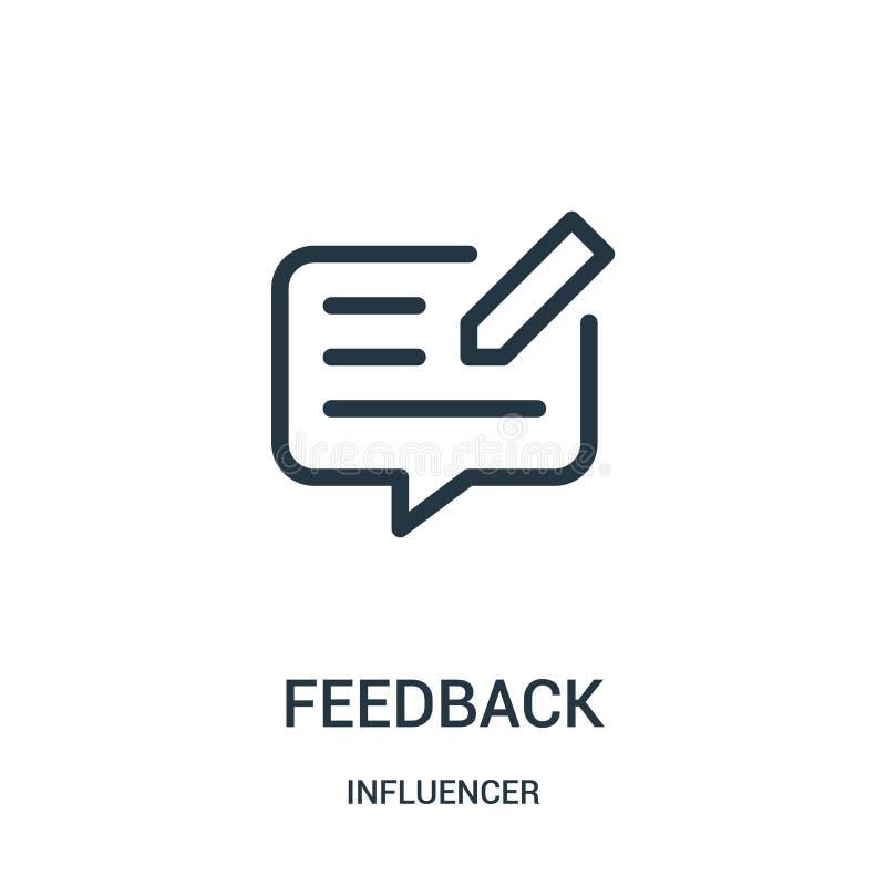 vettore dell'icona di risposte dalla raccolta del influencer Linea sottile illustrazione di vettore dell'icona del profilo di ris illustrazione di stock