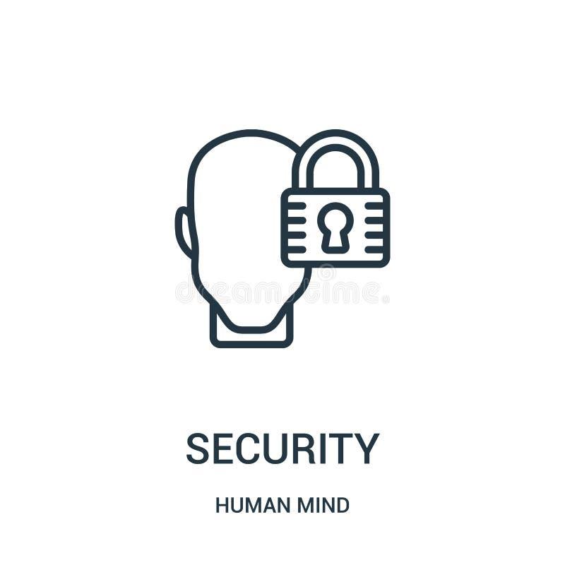 vettore dell'icona di sicurezza dalla raccolta di mente umana Linea sottile illustrazione di vettore dell'icona del profilo di si royalty illustrazione gratis