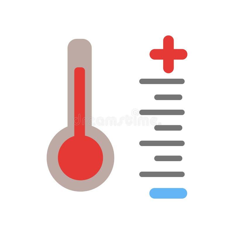 Vettore dell'icona di temperatura isolato su fondo bianco, segno di temperatura, simboli di tempo illustrazione di stock