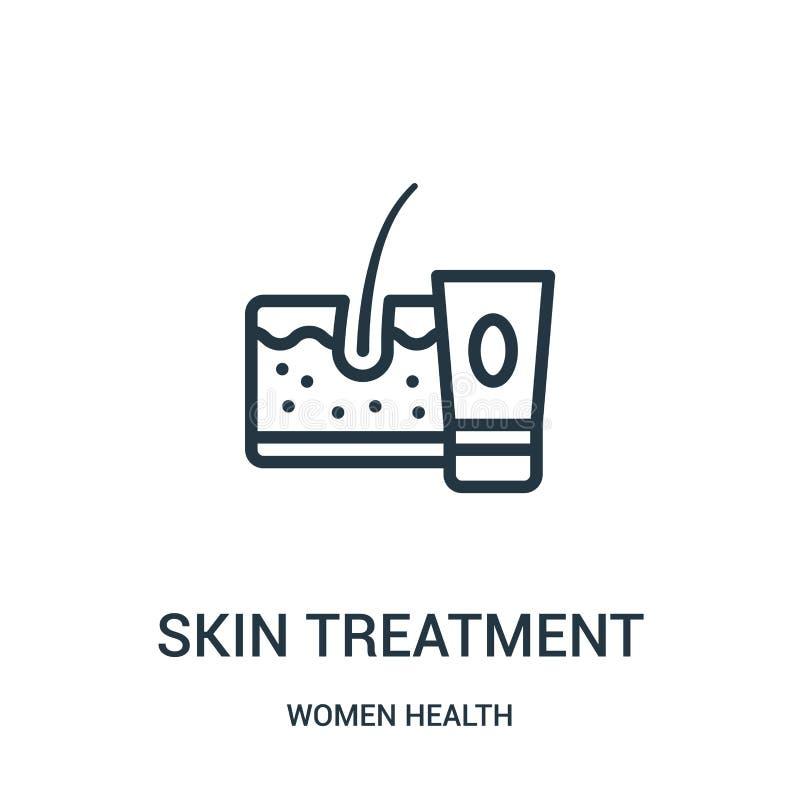 vettore dell'icona di trattamento della pelle dalla raccolta di salute delle donne Linea sottile illustrazione di vettore dell'ic illustrazione di stock