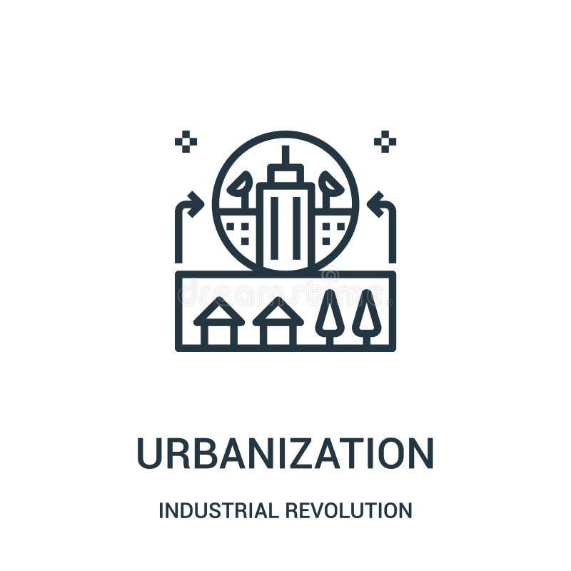vettore dell'icona di urbanizzazione dalla raccolta della rivoluzione industriale Linea sottile illustrazione di vettore dell'ico royalty illustrazione gratis