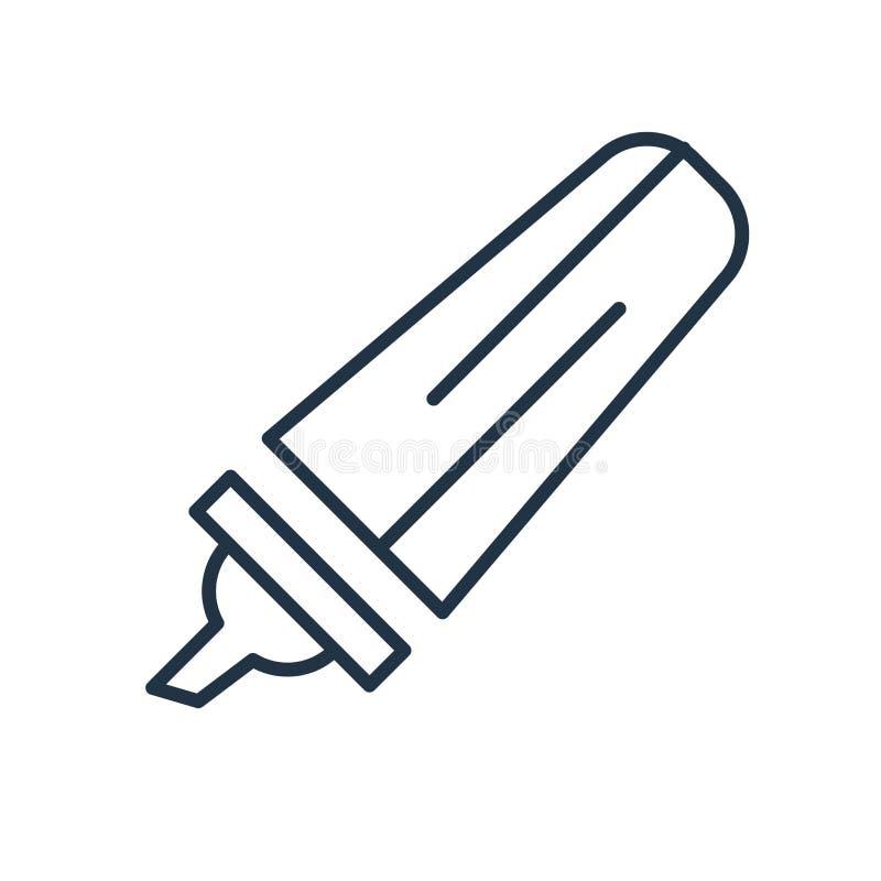 Vettore dell'icona dell'evidenziatore isolato su fondo bianco, segno dell'evidenziatore illustrazione di stock