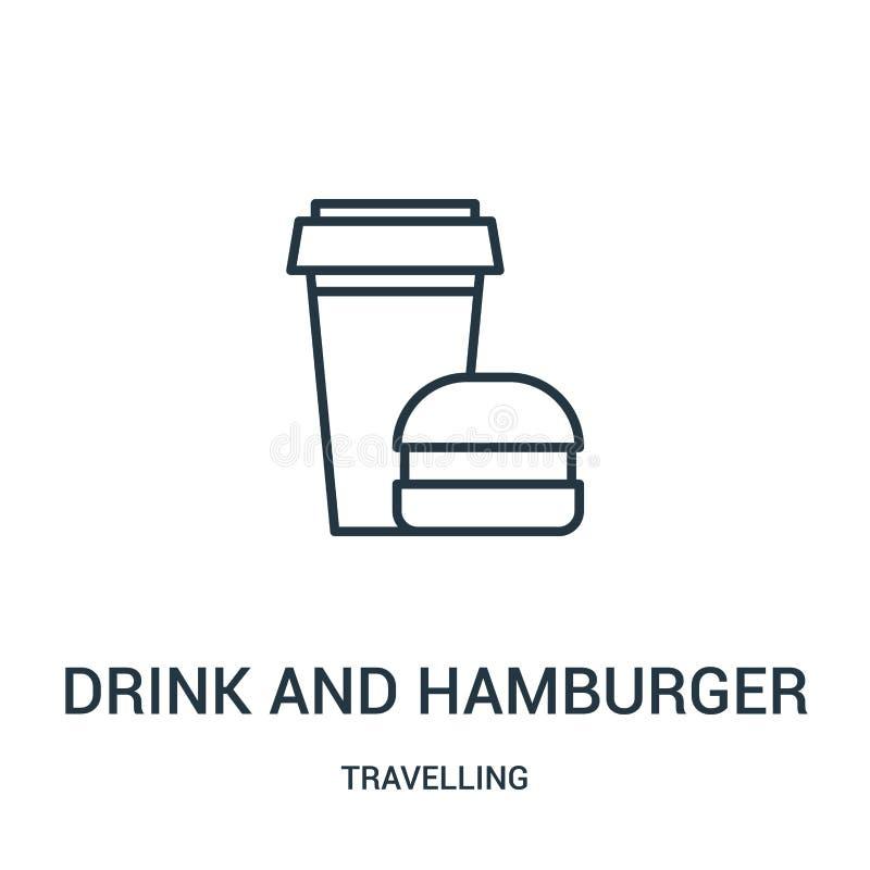 vettore dell'icona dell'hamburger e della bevanda dalla raccolta di viaggio Linea sottile bevanda ed illustrazione di vettore del royalty illustrazione gratis