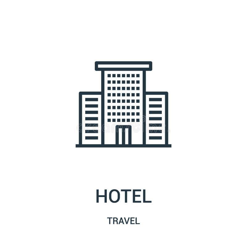vettore dell'icona dell'hotel dalla raccolta di viaggio Linea sottile illustrazione di vettore dell'icona del profilo dell'hotel  royalty illustrazione gratis