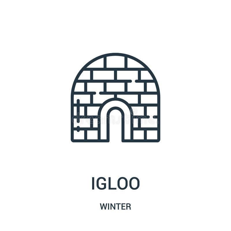 vettore dell'icona dell'iglù da collezione invernale Linea sottile illustrazione di vettore dell'icona del profilo dell'iglù Simb illustrazione vettoriale