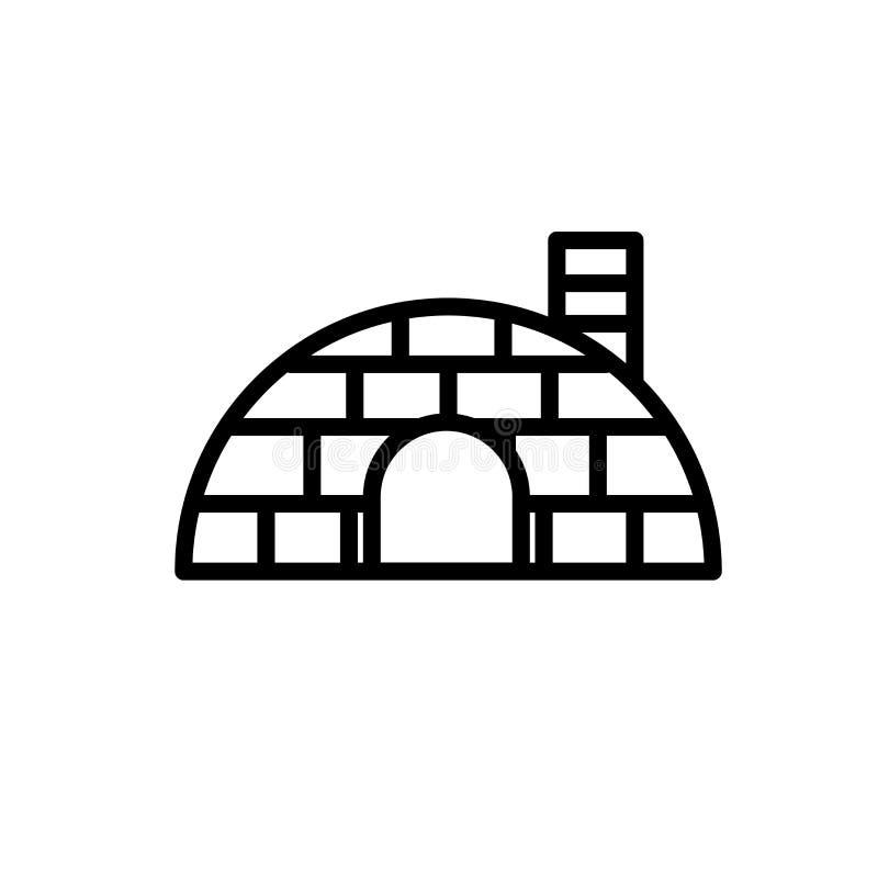 Vettore dell'icona dell'iglù isolato su fondo bianco, sul segno dell'iglù, sulla linea o sul segno lineare, progettazione dell'el illustrazione vettoriale