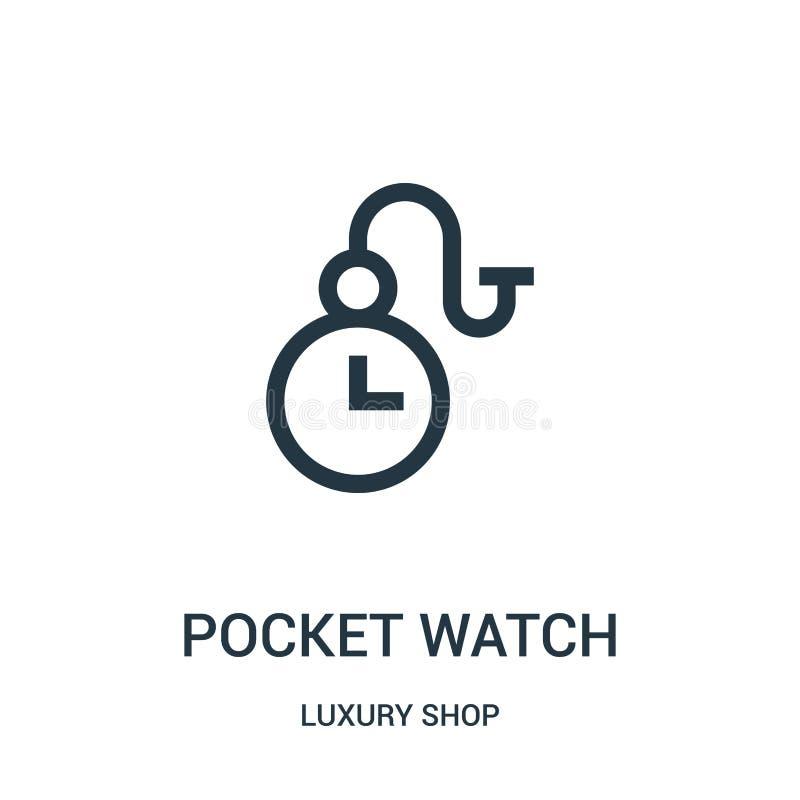 vettore dell'icona dell'orologio da tasca dalla raccolta di lusso del negozio Linea sottile illustrazione di vettore dell'icona d illustrazione di stock