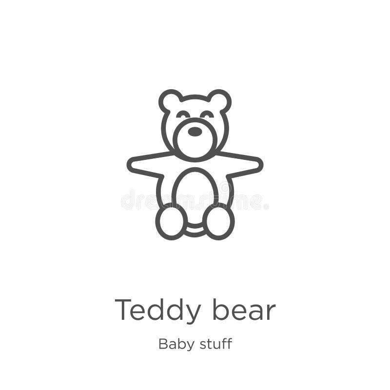 vettore dell'icona dell'orsacchiotto dalla raccolta della roba del bambino Linea sottile illustrazione di vettore dell'icona del  illustrazione di stock