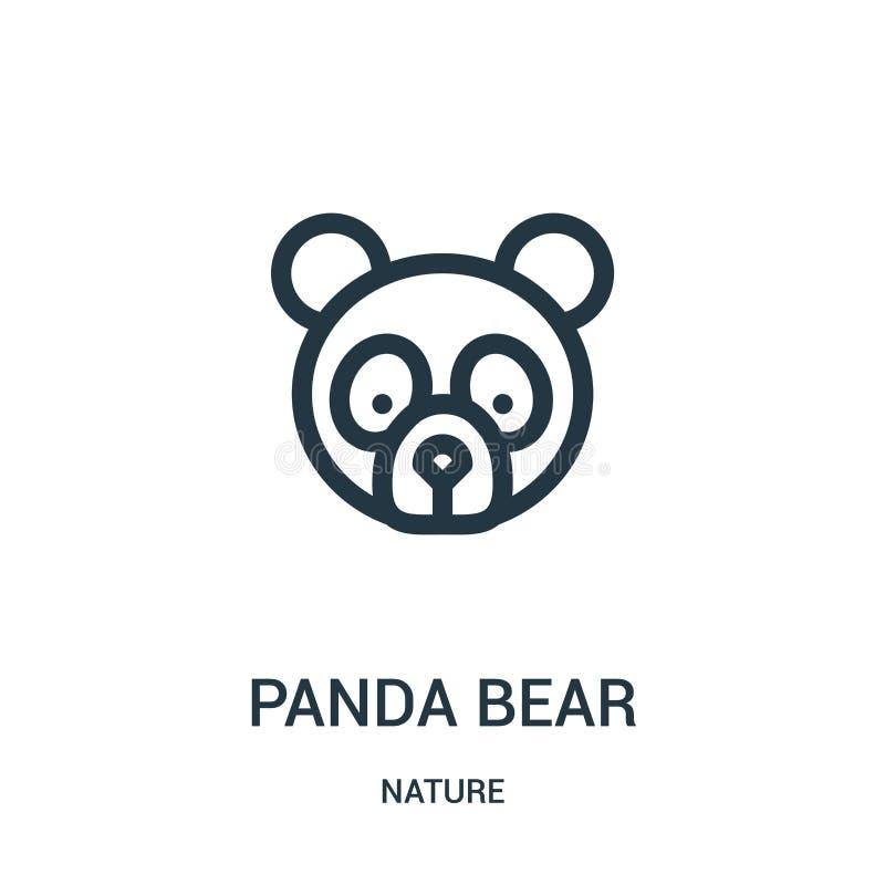 vettore dell'icona dell'orso di panda dalla raccolta della natura Linea sottile illustrazione di vettore dell'icona del profilo d illustrazione di stock