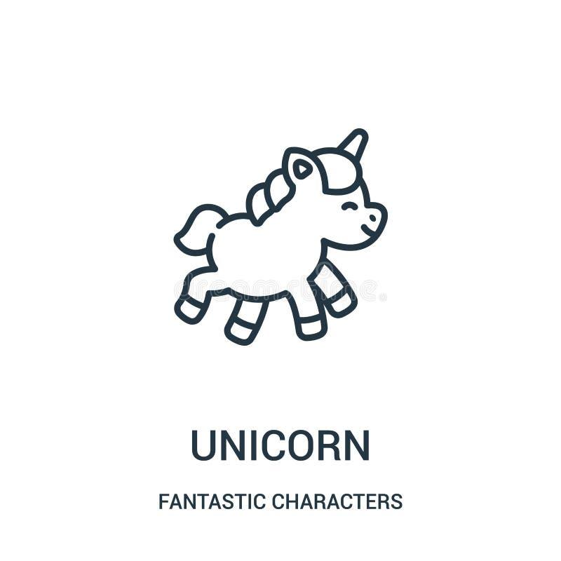 vettore dell'icona dell'unicorno dalla raccolta fantastica dei caratteri Linea sottile illustrazione di vettore dell'icona del pr illustrazione vettoriale