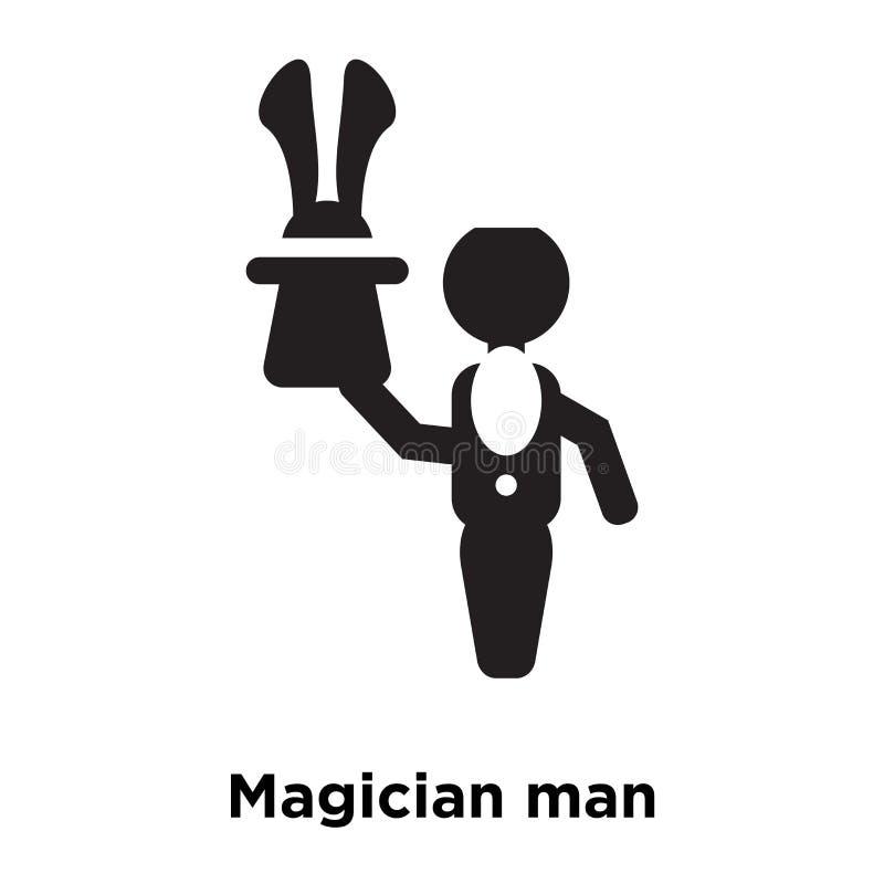 Vettore dell'icona dell'uomo del mago isolato su fondo bianco, logo concentrato royalty illustrazione gratis