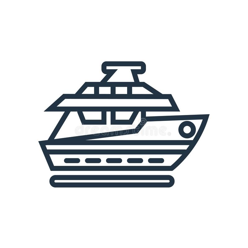 Vettore dell'icona dell'yacht isolato su fondo bianco, segno dell'yacht royalty illustrazione gratis