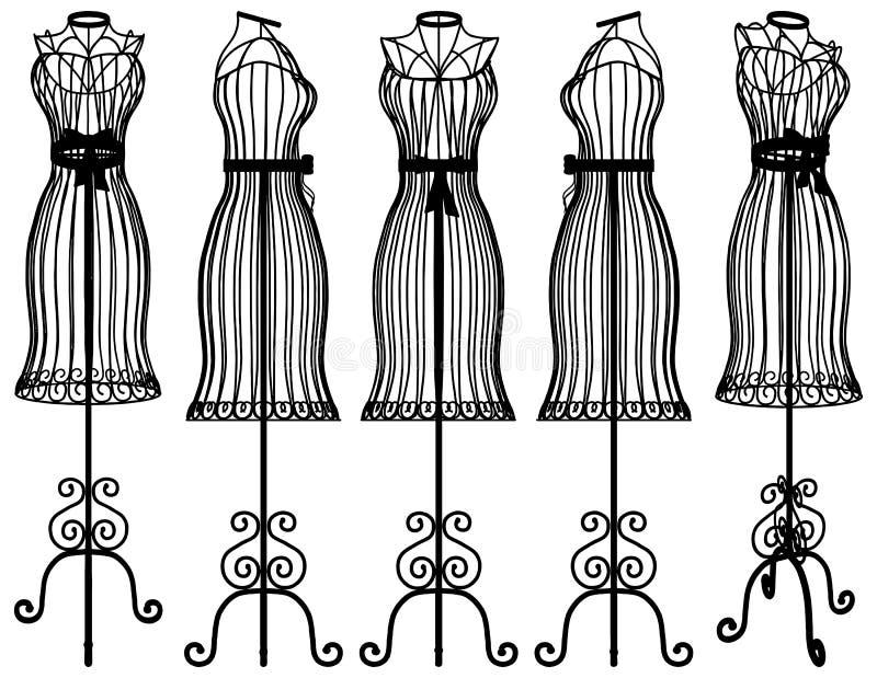 Vettore dell'illustrazione della gruccia per vestiti del manichino illustrazione di stock