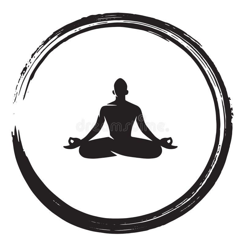Vettore dell'illustrazione della spazzola dell'inchiostro di Zen Meditation Circle Black Enso royalty illustrazione gratis